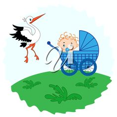 Baby boy in a pram in the meadow and stork beside him, hand drawing vector illustration