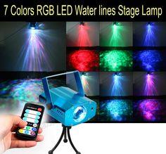 Líneas de 7 colores rgb led de agua de control remoto luz de la etapa de la lámpara Disco de Luz Láser Partido Luz Automático y Control de Sonido KTV Navidad