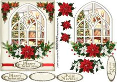 Christmas by the fireside through the window on Craftsuprint designed by Carol Smith - a decoupage sheet for Christmas which has a view through the window of a fireplace with Christmas tree and little puppy dog, the window is than trimmed with poinsettia boughs, tags provided say merry Christmas in English, French and Spanish also a blank tag for the greeting of your choice.thank you for looking please take a peek at my other items - Now available for download!