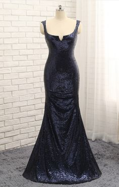 The Arabian sea blue sequined mermaid gown to the floor in a sleeveless frock gown evening dresses