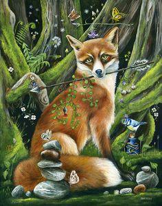 Fox by Janie Olsen Wolf Hybrid, Fox Spirit, Fantastic Mr Fox, Fox Art, Painting Gallery, Animal Totems, Woodland Creatures, Whimsical Art, Funny Art