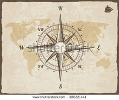 stock-vector-vintage-nautical-compass-old-world-map-on-vector-paper-texture-with-torn-border-frame-wind-rose-380221441.jpg (450×380)
