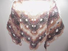 Crocheted scarf triangle shawl romantic boho by Handpaintedworld