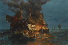"""The Burning Of A Turkish Frigate - Konstantinos Volanakis """