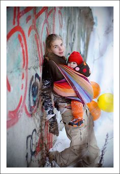 Sympho is a symphony to my eyes!  LOVE this rainbow!  #babywearing