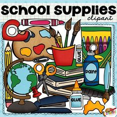 FREE School Supplies Clip Art set for teachers.  Includes free tape clipart, marker clipart, scissors clipart, books clipart, paint clipart and more