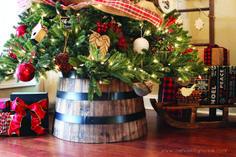 Whiskey Barrel Planter as a Christmas Tree Collar Tree Collar Christmas, Diy Christmas Tree, Xmas Tree, Christmas Wreaths, Christmas Ideas, Pink Christmas, Holiday Ideas, Christmas 2014, Christmas Stuff