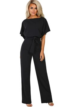 Wholesale Jumpsuits & Rompers, Cheap Black Oh So Glam Belted Wide Leg Jumpsuit Online Jumpsuit Outfit Dressy, Pant Romper Outfit, Dressy Pants, Formal Jumpsuit, Jumpsuit Shorts, White Jumpsuit, Jumper Outfit Jumpsuits, Black Jumpsuit With Sleeves, Fashion Jumpsuits
