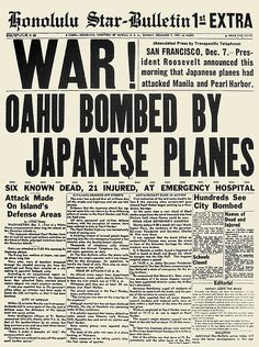 WORLD WAR II: PEARL HARBOR. The front page of the Honolulu-Star Bulletin, 7 December 1941, announcing the Japanese attack on Pearl Harbor.