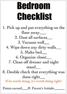 """Checklist for cleaning every room. Good idea since the """"guys"""" don't see what I see."""