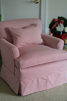 Custom Slipcovers By Shelley: Red/ White Striped Chair   Red U0026 White    Pinterest   Custom Slipcovers, Bedroom Chair And French Kitchens
