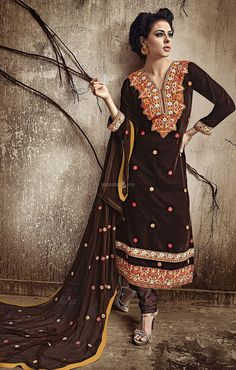 Brighten up your day with cheerfulness dressed in this churidar suit in pecan color embroidered velvet. This enticing attire is displaying some extraordinary embroidery done with resham and lace work. Pakistani Dress Design, Pakistani Dresses, Churidar Suits, Salwar Kameez, Patiala Suit, Indian Clothes Online, Marriage Dress, Ethnic Wear Designer, Straight Dress