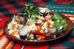Каша с грибами - рис с лесными грибами и овощами