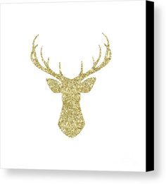 Stag Canvas Print featuring the digital art Gold Glitter Stag Head by Amanda Lakey