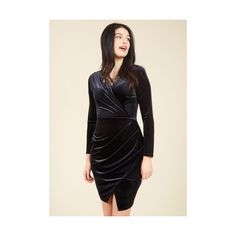 Closet London Vintage Inspired Knee Length Long Sleeve Wrap Silver... (£115) ❤ liked on Polyvore featuring dresses, apparel, black, wrap dress, long sleeve wrap dress, tulip wrap skirt, knee high dresses and long sleeve knee length dresses