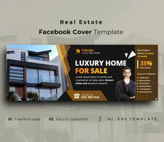 Real Estate Facebook Cover Template AI, EPS Facebook Cover Template, Estate Homes, Luxury Real Estate, Lorem Ipsum, Google Fonts, Luxury Homes, Templates, Colorful Backgrounds, Swimming Pools