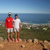 Salomon Trail Runners Kilian Jornet and Ryan Sandes before the Crazy Store Table Mountain Challenge