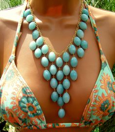 Amazon Woman. Blue Amazonite Bib Necklace. Turquoise Seafoam Stone Bib Necklace. Statement.. $57.00, via Etsy.