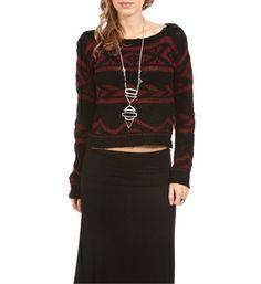 Black/Burgundy Tribal Print Sweater