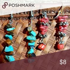 2 PAIRS OF VINTAGE EARRINGS - TURQUOISE AND CORAL These dangling earrings will swing pretty next to your neck, and colorfully compliment your outfits and any hairstyle.  One set is comprised of real turquoise and  another type of chocolate-brown colored stone. The other set is designed with red coral bits and silvertone accents.  I have had these for several years and I believe I bought them from private crafters. Both sets are in good condition, and are sold as a 'Lot of 2'. Unknown Jewelry…