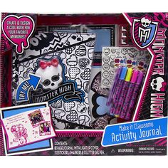 This activity set includes a 60 page Monster High themed journal activity pages AND a cool LIGHT UP COVER. The upper corner of each page is die cut around the lightning bolt feature on the cover. Activity pages are geared for an older girl and the set includes glittery stickers, gel pen and markers that can be used to color the cover. Girls will love writing about their lives and learning about themselves with this super cool light up journal.
