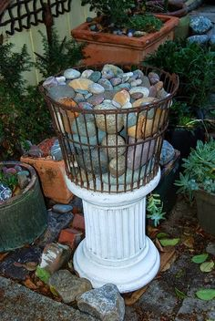 A basket of pretty rocks as garden decor. We do this with stones and shells we've found over time together. :)