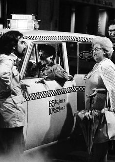 Catherine Scorsese on the set of Taxi Driver with Martin Scorsese and Robert De Niro