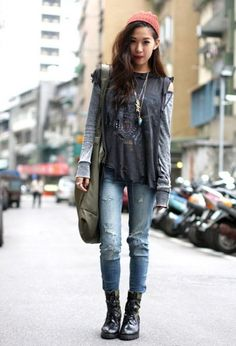 Layers - 7 Street Style Grunge Outfits to Recreate ... [ more at http://streetstyle.allwomenstalk.com ] An easy way to achieve the grunge look is by wearing tons of layers. It's a casual look that leaves you looking and feeling effortlessly cool. Pair your distressed jeans with some long sleeves and then throw a graphic tee over it!... #Streetstyle #Street #Denim #Grunge #Flannel #Shirt