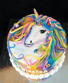 A Lisa Frank inspired unicorn cake by www.christinascakery.com