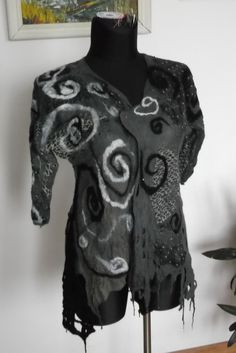 Handmade nuno felted Jacket ,merino wool, silk. by fripperyart on Etsy