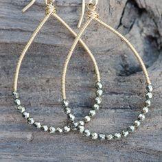 Gold and Fine Pyrite Teardrop hoops - handmade earrings