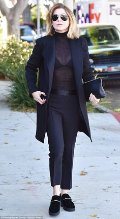 Showing off: Ellen Pompeo, 46, was a bit on the risque side, choosing a fitted, see-throug...