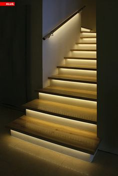 LED Accent Lighting » The combination of handrail and nosing-tread lighting in LED format creates a complete visual cueing experience here, with great contrast from step to step. Combined with general lighting, a setup like this should alleviate any anxiety about navigating the stairs.