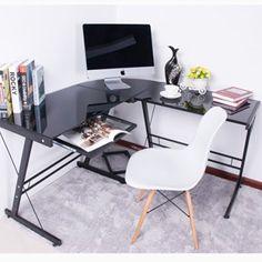 BTM Large Corner Computer Tempered Glass Desk PC Table Corner L-Shape Home…