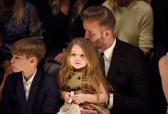 David, Harper, and Romeo Beckham at the Burberry L.A. show