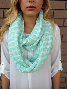 Mint & White Stripe Knit Infinity Scarf