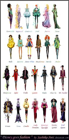 Disney goes fashion - High fashion sketches inspired by Disney princesses and villains