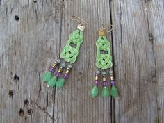 Apple green handwoven wax rope earrings with purple by creatodame