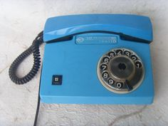 Rare Vintage Soviet Blue Rotary Telephone Made in USSR by Astra9