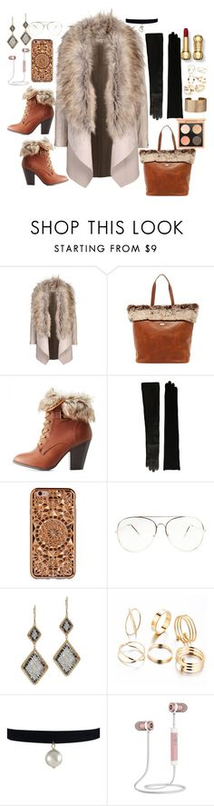 """""""Faux Fur"""" by fashionactive ❤ liked on Polyvore featuring Australia Luxe Collective, Charlotte Russe, Lauren Ralph Lauren, Felony Case, Dana Kellin and Panacea"""