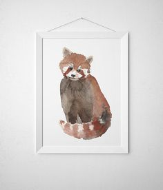Cute red panda poster. Lovely nursery decor. Nice watercolor art print. BUY 1 GET 1 FREE - use coupon code 777FOXY at checkout. Comes in two