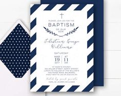 Boy Baptism Invitation | Navy Baptism Invitation Boy | Baptism Invite | Christening Invitations | Baptism Invitations Printable | Navy White
