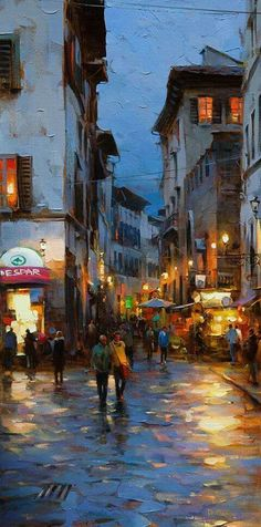Hand Painted Modern Abstract Streetscape Florence at Evening Knife Oil Painting . - Hand Painted Modern Abstract Streetscape Florence at Evening Knife Oil Painting on Canvas Handmade - Urban Landscape, Landscape Art, Landscape Paintings, Art Oil Paintings, City Painting, Oil Painting On Canvas, Canvas Canvas, Composition Photo, Art Mur