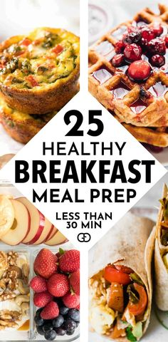 Meal Prep Ideas for Breakfast: 25 Quick & Healthy Breakfast Ideas for the week. This list helps me to simplify my meal planning! Meal prep, breakfast meal prep for the week, meal plan, meal prep recipes Healthy Breakfast Meal Prep, Easy Healthy Meal Prep, Easy Healthy Recipes, Quick Easy Breakfast, Healthy Breakfast Meals, Healthy Meal Planning, Yummy Breakfast Ideas, Protein Breakfast, Healthy Desayunos