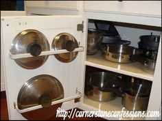 Curtain Rods to Organize Pan Lids