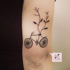 #axelesjmont #tattoo #bicycle #nature #linework #berlin