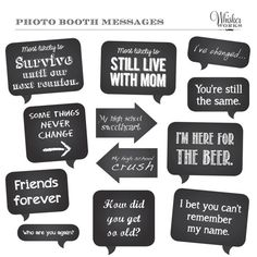 DIY Photo Booth Printables - Chalkboard Signs - REUNION