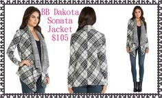 "BB Dakota Sonata Jacket:  Super cozy plaid knit blanket jacket with an open wrap front and drapey lapels. No closures. 33"" length.  80% Acrylic 20% Polyester Hand Wash or Dry Clean  Available size XS-L"
