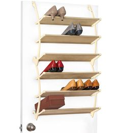 The Over the Door Shoe Storage Shelves gives you a simple way to store pairs of shoes or even shoe boxes right on your closet door.