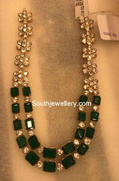 Emerald and Moissanites Haram, stones haram models, 22 carat gold haram models Kids Gold Jewellery, 18k Gold Jewelry, White Gold Jewelry, Gold Jewellery Design, Emerald Jewelry, Bridal Jewelry, Jewellery Shops, Bridesmaid Jewelry, Egypt